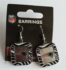 New England Patriots NFL Team Color Zebra Stripes Silver Dangle Earrings