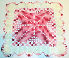 """Rose Colored Red White and Pink Crochette Doily Large Size 12"""" x 12"""""""