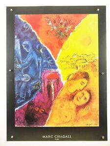 "vtg 1990s MARC CHAGALL ~ La Joie ~ romantic high quality fine art poster 24x32"""