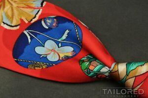 "HERMES Red Colorful Novelty Ladybug Floral Silk Luxury Tie SCARF PRINT - 3.625"""