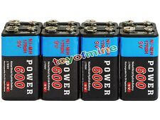 8x Durable 9V 9 Volt 600mAh Power Black Ni-Mh Rechargeable Battery PPS block