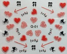 Nail Art 3D Decal Stickers Red Hearts Cupid Love Arrow Valentine's Day Q01