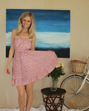 'FOREVER NEW' PINK SUMMER STRAPLESS DRESS FLORAL 6 XS BOOBTUBE