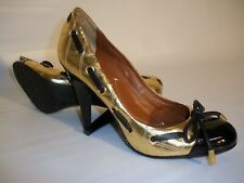 Bcbg Max Azria Black/Gold Quilted Leather Baby Doll High Heel Pumps, Size 7 1/2B