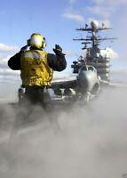 USS GEORGE WASHINGTON (CVN 73), directs a EA-6B Prowler aircraft 12X18 PHOTO