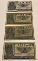 Lot Of 4 X Netherlands Banknotes. 2 1/2 Gulden. Dated 1949. P73.