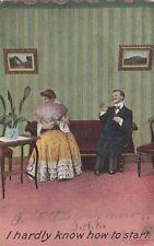 Antique COMIC ROMANTIC POSTCARD c1910 Couple Flirting Bamforth
