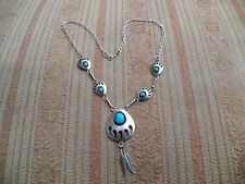 Vintage Native American sterling Sj Selina Jake turquoise bear paws necklace