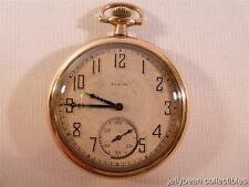 Working Elgin Pocket Watch Open Face Double Roller Gold Filled Hand Wind