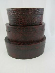 Set of 3 Nesting Stacking Wooden Oval Boxes Red & Black Faux Croc