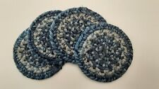 "Set of 4 Homespice Decor Denim Blue Braided Jute 4"" Drink Coasters"