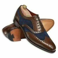 Chaussures richelieu Oxford Brogue en cuir véritable et daim bleu à la main pour