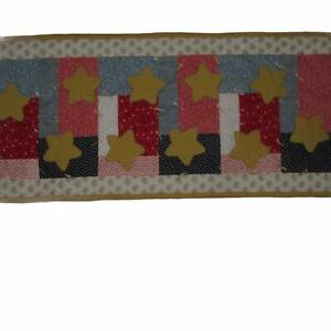 """Handmade Stars Patchwork Quilt Table Runner/Wall Hanging Home Decor 16""""x40"""" #429"""