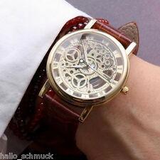 HS Braun Herren Lederarmband Armbanduhr Analoguhr Quarzuhr Vergoldet Uhr