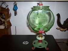 VINTAGE GREEN DEPRESSION GLASS FISH BOWL, HOLDER & CAT FISHING