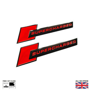 Supercharged Wing Badges For Audi A4 A5 S4 S5 R8 Q7 SQ5 SQ7 SQ8 Black Red
