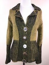 PURE HANDKNIT Womens Brown Green Black Button Up Sweater Cardigan  Size XS/S