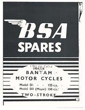 BSA Parts Manual Book 1954, 1955 & 1956 Bantam D1 125cc