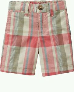 AUTH. BNWT OLD NAVY LITTLE BOYS PLAID MADRAS SHORTS (4T), PEACH PLAID