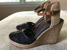 Tory Burch Espadrille Wedge Navy Lace Closed Toe