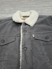 Levis Sherpa Jacket Trucker Corduroy Jeans Jkt Size M White Tab Gray/Beige Vgc