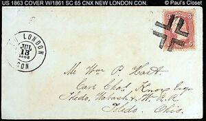 1863 COVER WITH 1861 SC 65 3¢ WASHINGTON FANCY BLACK CROSSROADS CNX, NEW LONDON
