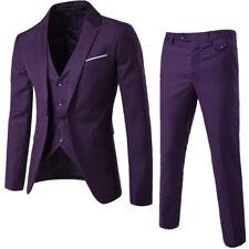 Mens Bridegroom Wedding Dress Formal Button Slim Fit 3pcs Suits Coat/Vest/Pants