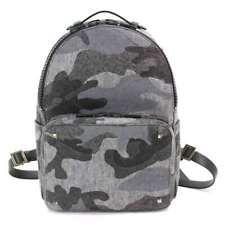 VALENTINO GARAVANI Camouflage Back Pack Wool Leather Grey Black 90079230