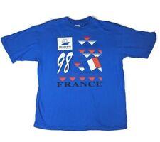 Vintage Soccer Blue T-Shirt World Cup France 98 Classic Coupe Du Monde Men's XL
