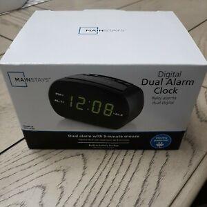 NEW Mainstays Green LED Digital Small Electric Dual Alarm Clock Free Shipping!!!