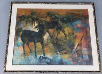 Signed 1970 Kamol Tassananchalee - Black Fury - Art Print Thailand listed artist