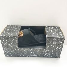 INC Leopard Slippers Womens Medium 7-8 Faux Fur Black Slip On embroidered new