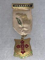 Antique NEBRASKA Knights Templar MASONIC ORDER Badge Medal with Ribbon