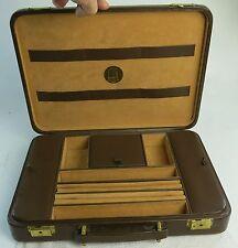 Rare Vintage Dunhill Brown Leather Hard Briefcase Lighter Pipe Pen Holder &  Key