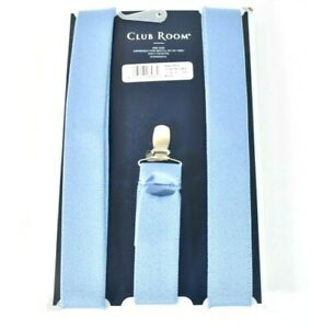 Club Room Mens Light Blue Brown Suspenders New Clip On Straps