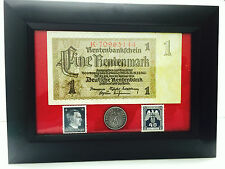 German Rare1 Mark Bill 10 rp Coin wth Stamp in Disp Frame
