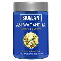 BIOGLAN ASHWAGANDHA 60 VEGAN CAPSULES WORRY & MILD ANXIETY STRESS RELIEF