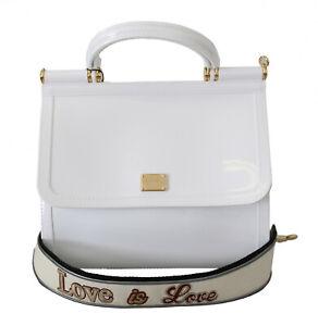 DOLCE & GABBANA Bag SICILY White PVC Shoulder Purse Satchel Women Borse Hand