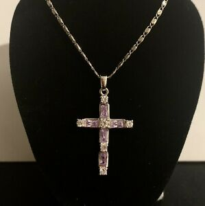 Sterling Silver Large Cubic Zirconia Cross & Chain 925