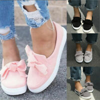 Women Girls Flat Casual Sneakers Bowknot Comfy Slip On Trainers Plimsolls Shoes