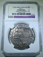 NGC 1500s Spanish Potosi Silver 8 Reales Antique Dollar Pirate Treasure Cob Coin
