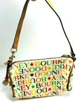 Dooney & Bourke Logo Ivory Background Rainbow Zipper Bucket Bag Handbag