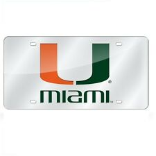 Miami Hurricanes Mirrored Laser Cut License Plate Laser Tag