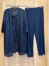 R&M Richards Peacock Blue 3 Piece Sequin Scallop Lace Duster Pant Set Size 18W