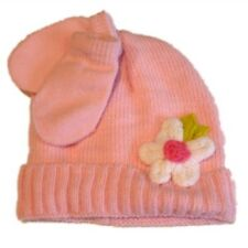 Infant Girls Pink Knit Baby Hat   Mittens Set White With Crochet Flower 852ef68adec9