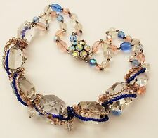 STUNNING VINTAGE CRYSTAL GLASS NECKLACE - BRIDAL / WEDDING / BALL / PARTY