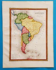 1838 ORIGINAL MAP PATAGONIA ARGENTINA CHILE PERU BOLIVIA BUENOS AIRES COLOMBIA