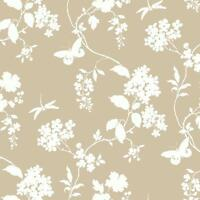 Wallpaper White Raised Ink Butterfly Dragonfly Floral Silhouettes Light Beige