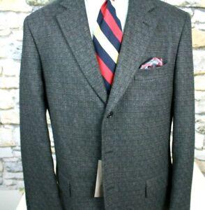 TALILA FUSION NEW Blazer Jacket Three Button Wool Alpaca Blue Tweed Ventless 43L