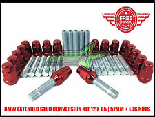 BMW EXTENDED STUD CONVERSION KIT 12X1.5 | 57MM | + 20 RED CHROME LUG NUTS